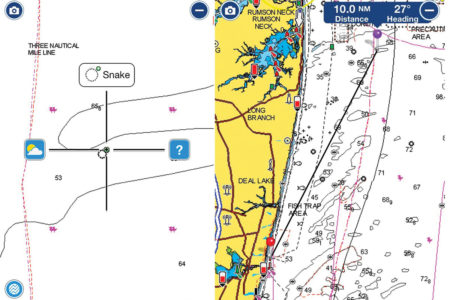 """Look for the """"Snake"""" at 40 20.525 N / 73 54.141 on your Navionics chart; just keep in mind that lat/long is beyond the three-mile line and off limits for striper fishing! Images courtesy of Navionics and the Navionics Boating app."""