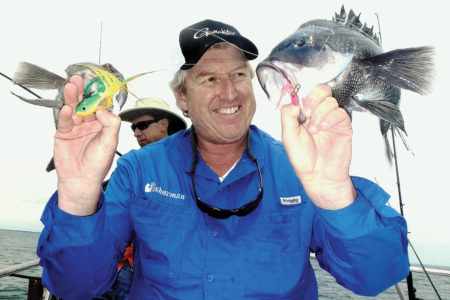 Jim Hutchinson with a double-header on black sea bass using tandem Spro bucktails as jigs