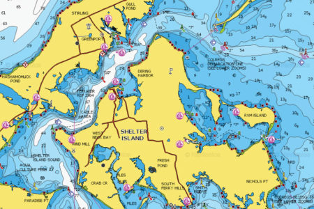 MAp showing the waters between the Greenport Jetty and Shelter Island