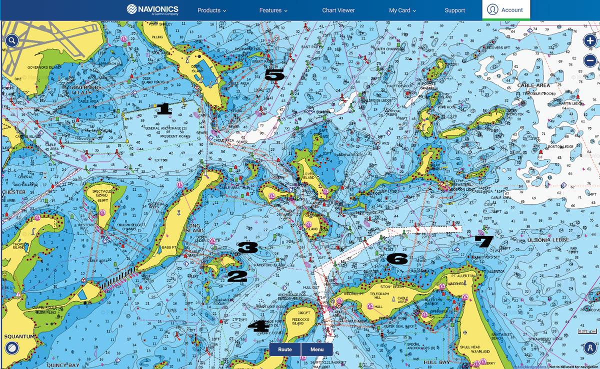 Map with popular flounder spotslabelled