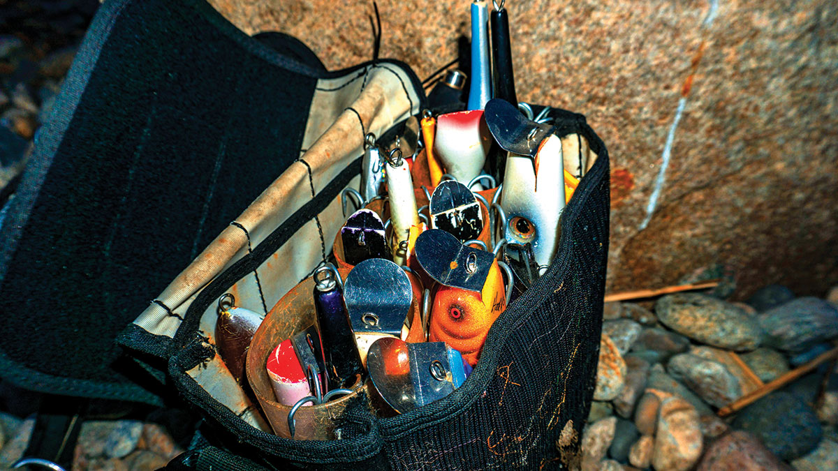 Bag full of baits and lures