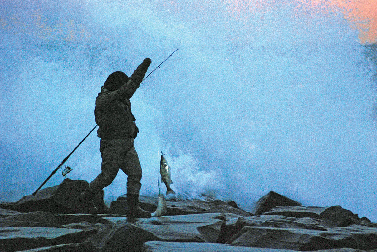 man holding a line with fish at the end on top of rocks