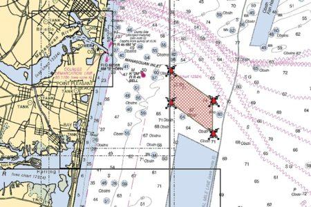 Map showing Manasquan Inlet Reef