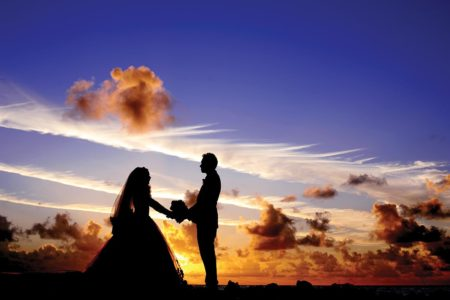 Wedding day with sunset