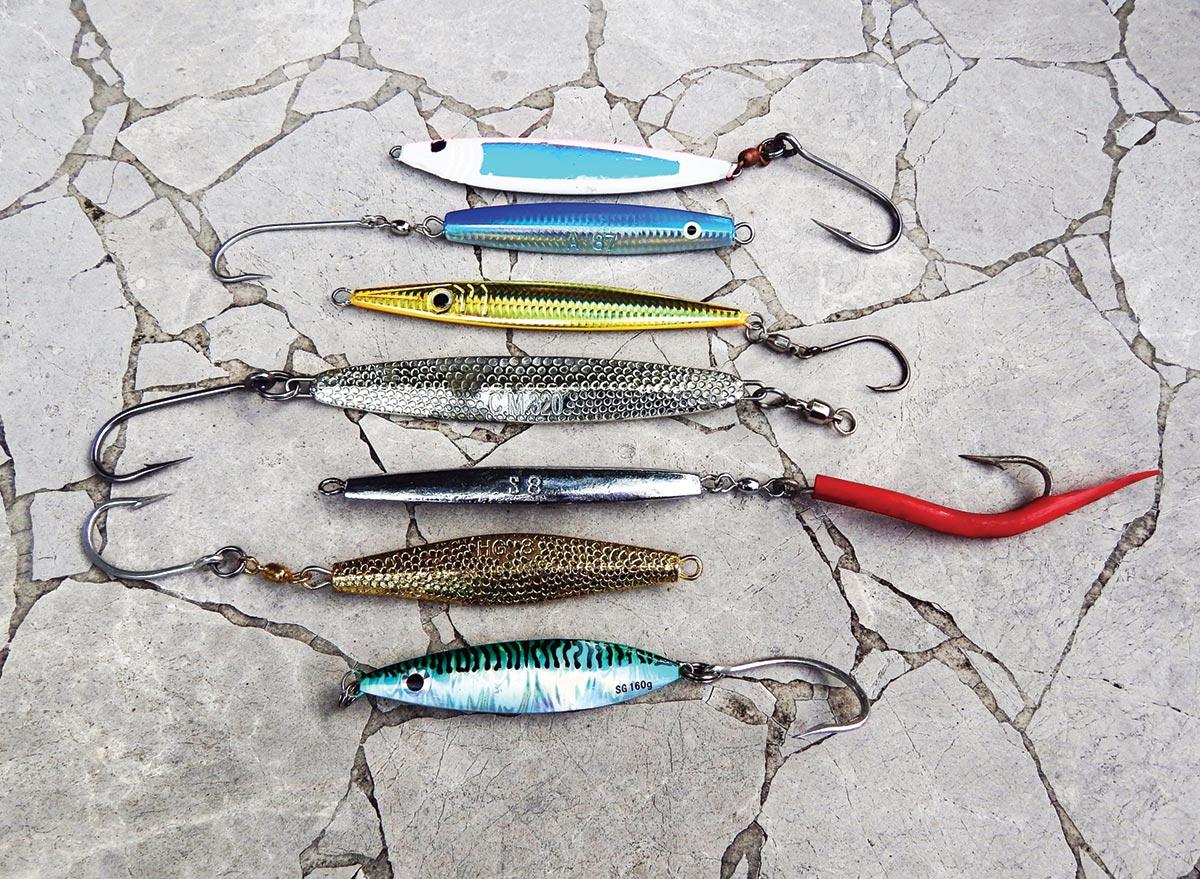 An assortment of jigs that tuna find appealing