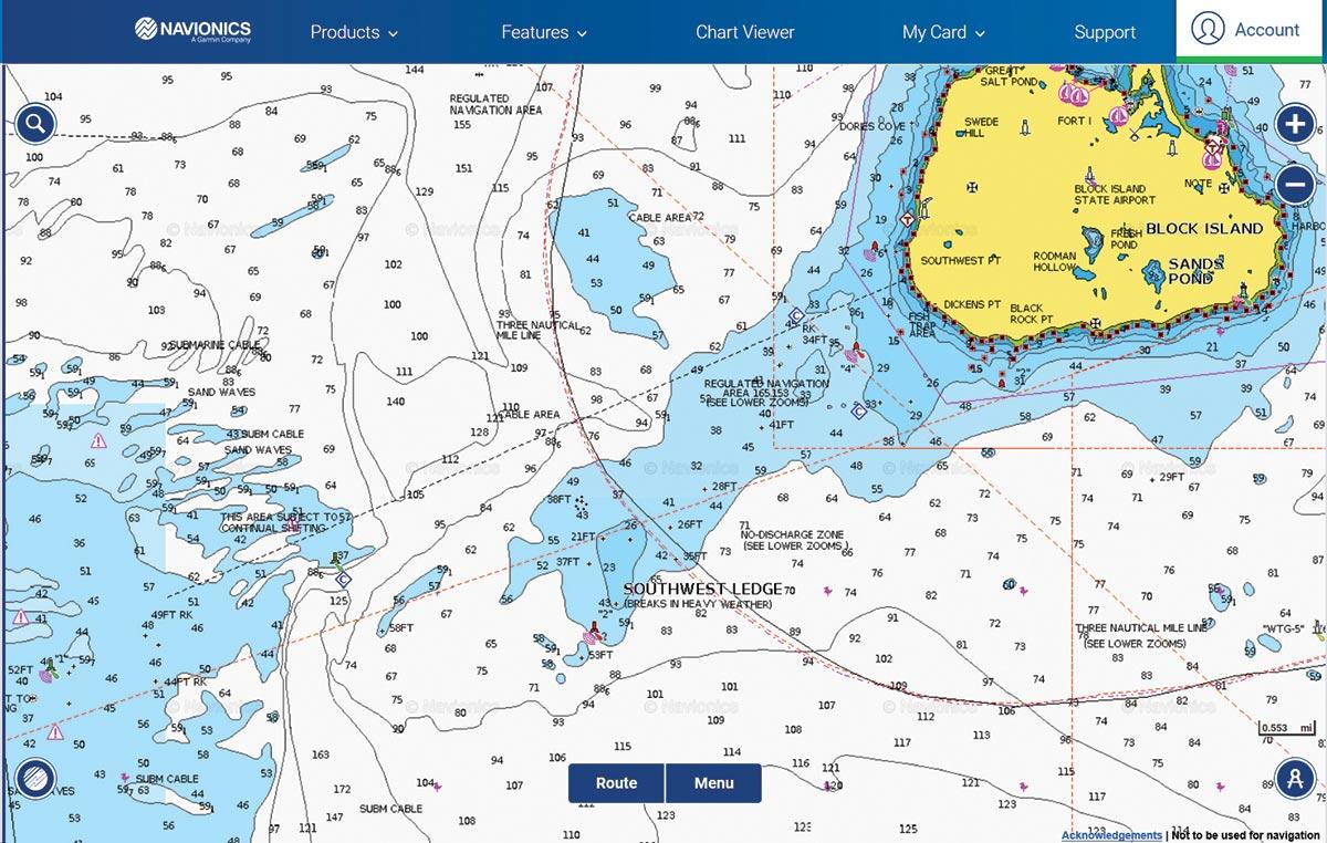 Map of Southwest LEdge, Block Island, RI