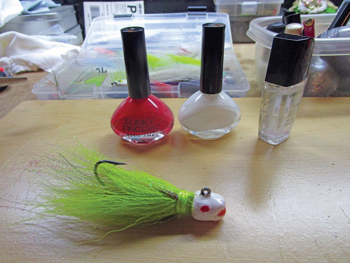 The same bucktail with two coats of white, a dash of red, and two coats of clear