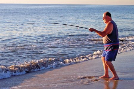 Fishing in the shore on summertime