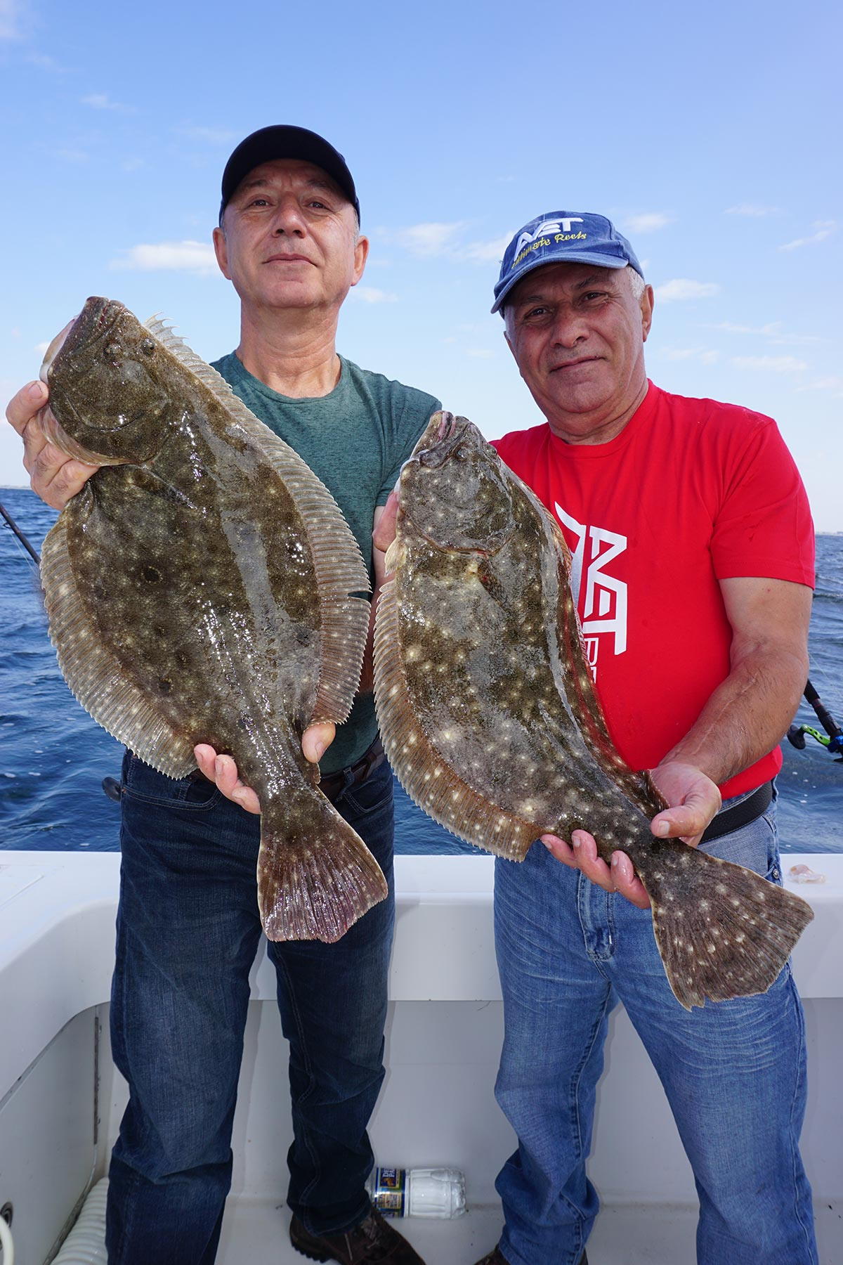Harry and Sarkis Alajayjyan putting their gear to the test on Northeast fluke.