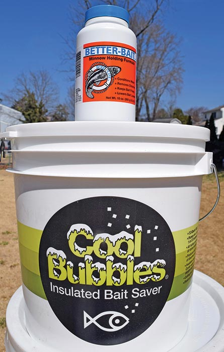 An aerated bucket should keep your live bait lasting longer