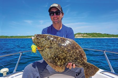 This quality fluke caught by Owen Roberge on a JoeBaggs Flukie has the telltale coloration of a fish that has been staging on pebbly bottom.