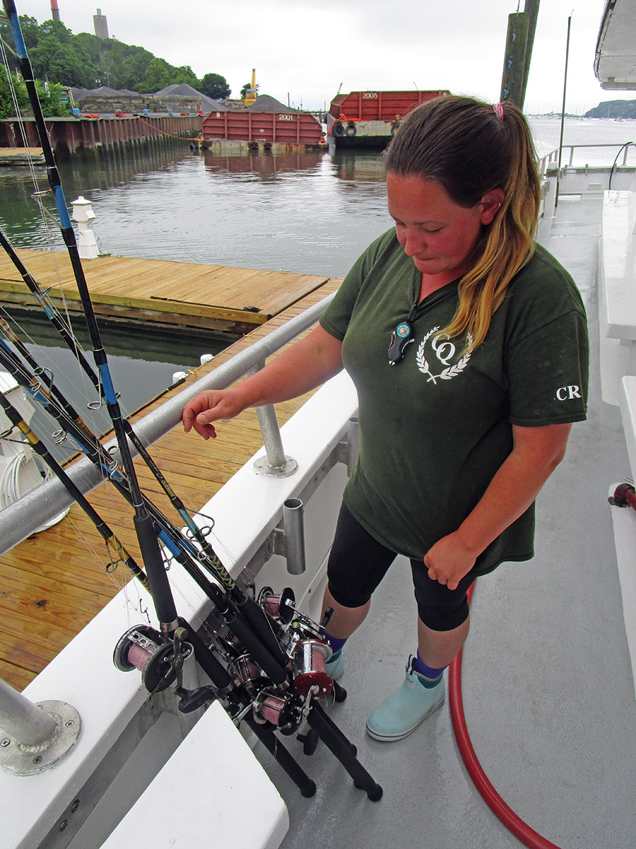 The end of the day and it's time for Nicole to get tomorrow's equipment ready on the Celtic Grace.
