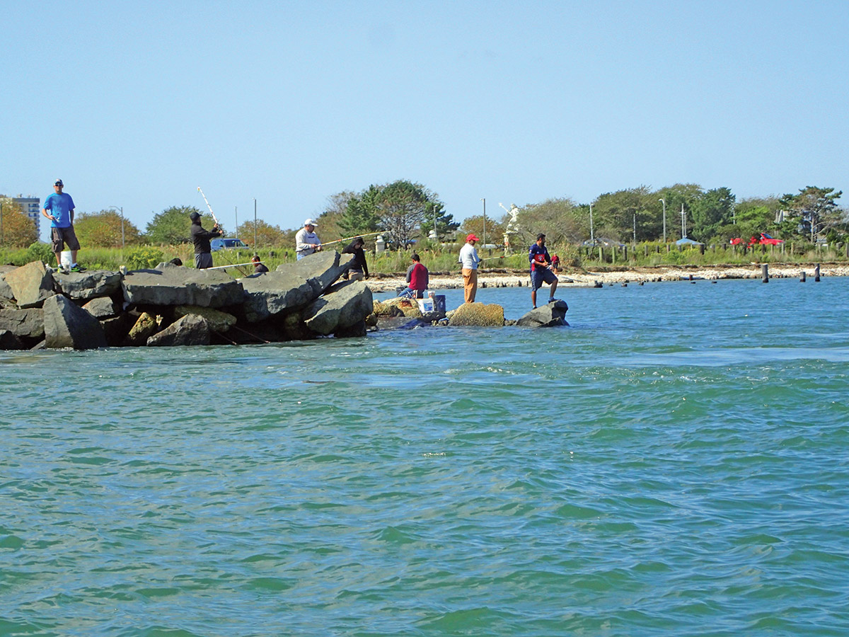 Rock jetties with deep water are the most likely places for triggers in the inlet.