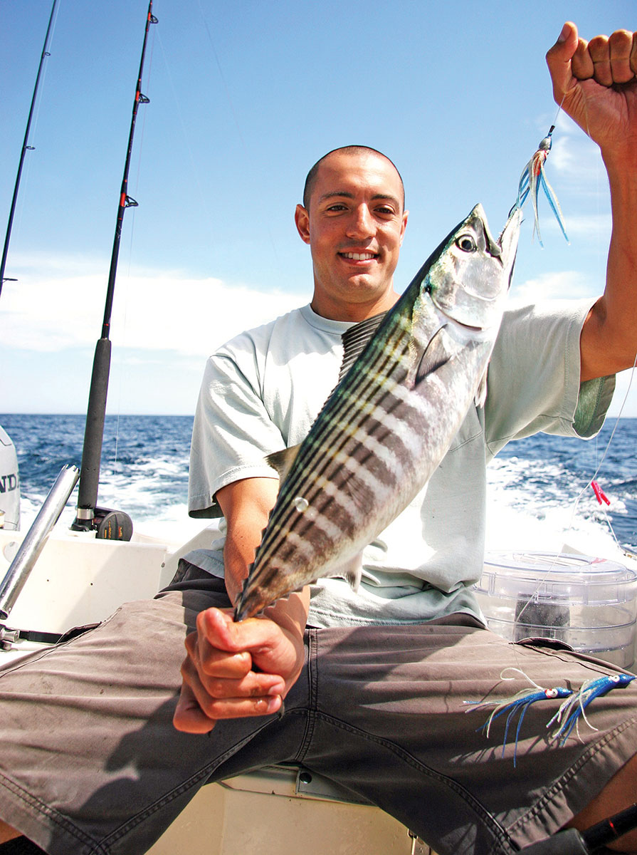 Favorite trolling lures include 3-inch Williamson Flash feathers