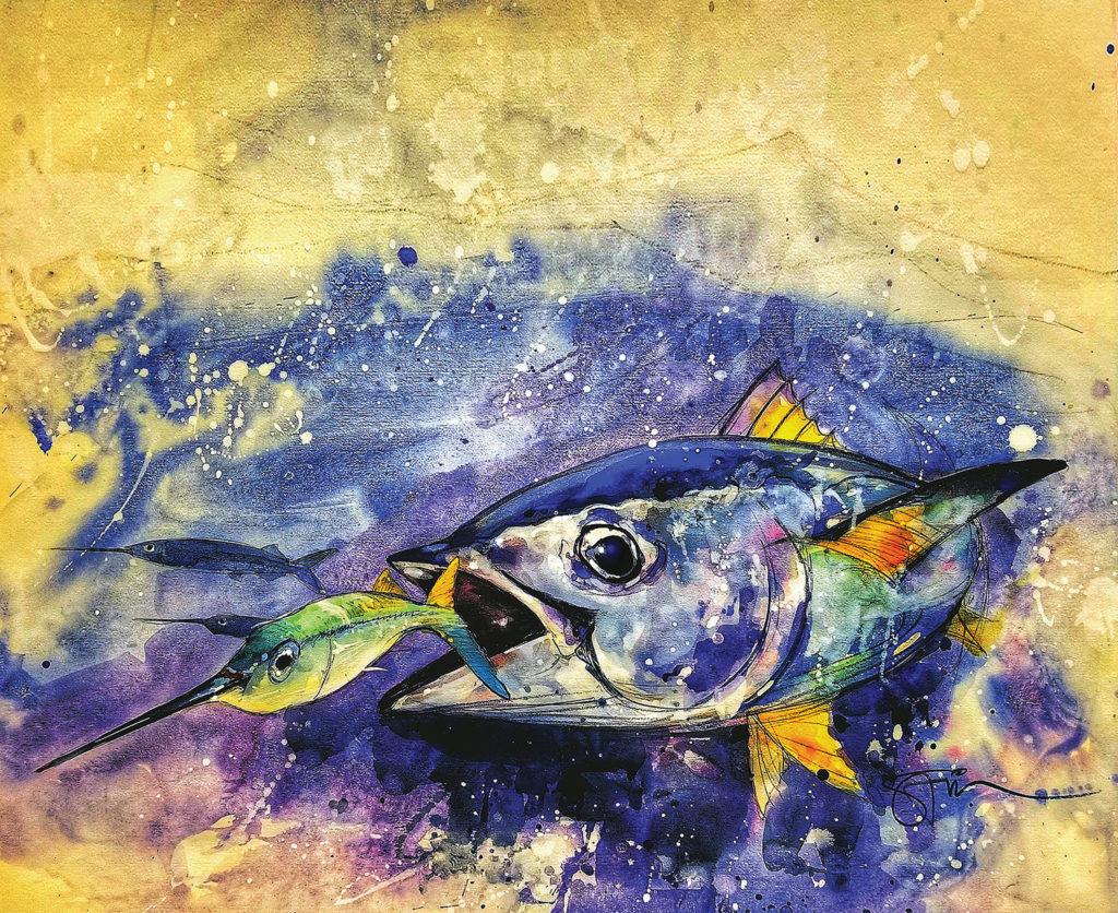 Artwork of tuna by Savio Mizzi