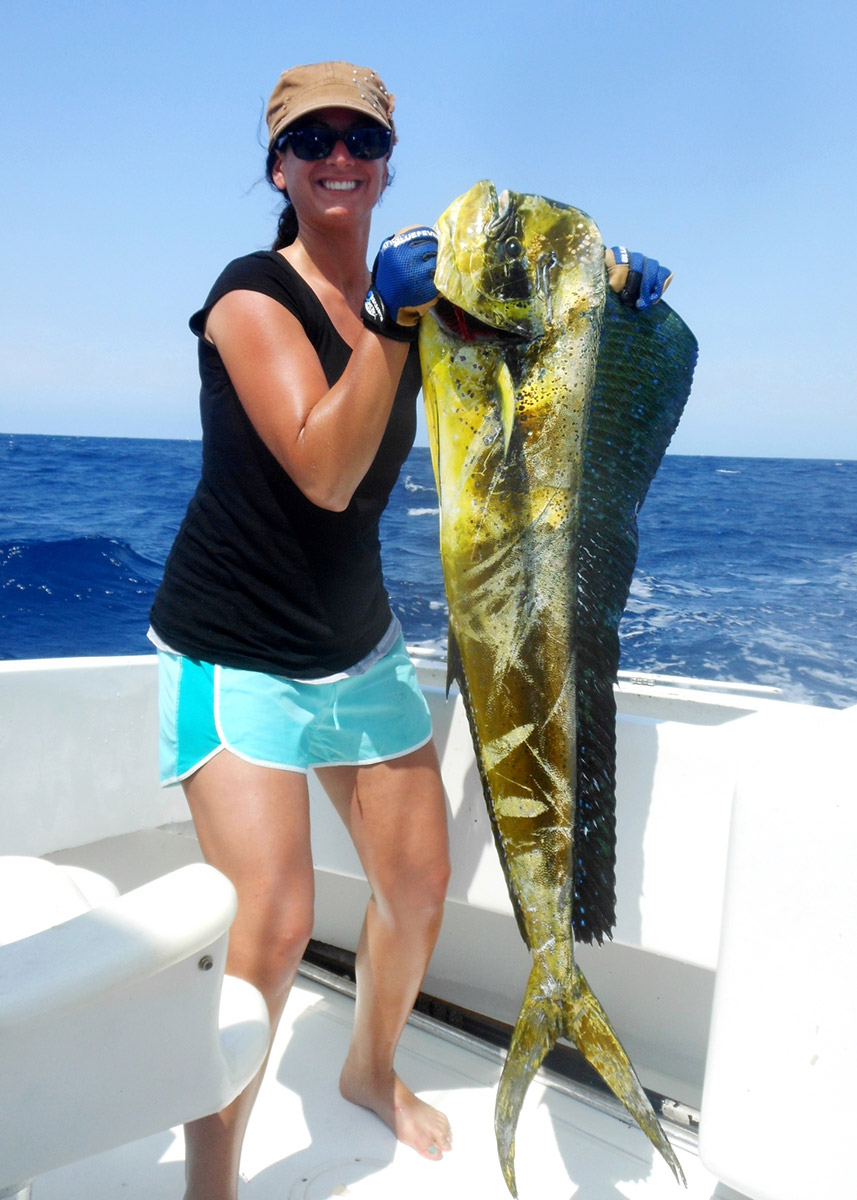 Amy with a 30-pound mahi trolled at the Edge.