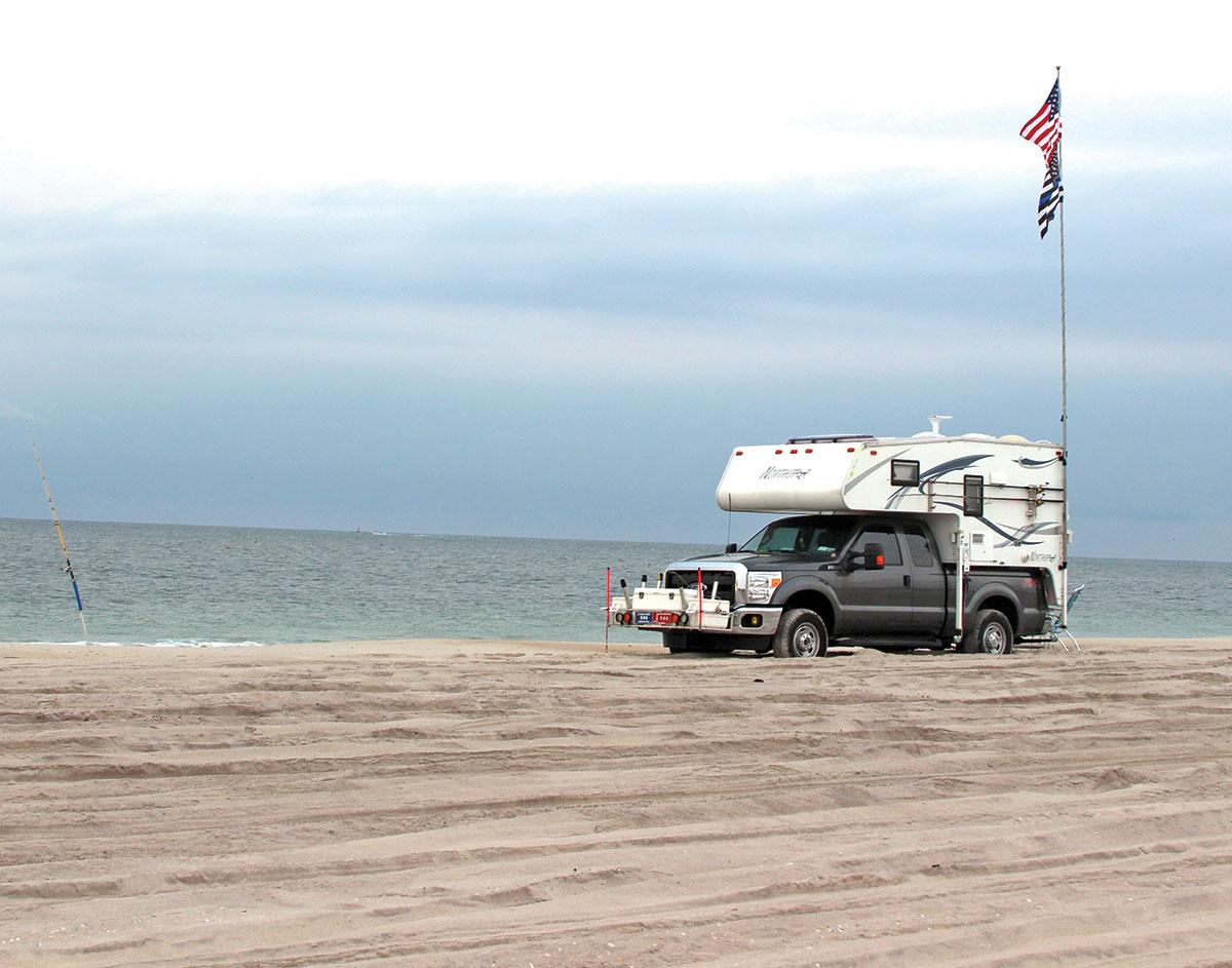 Pickup trucks with a slide-on camper