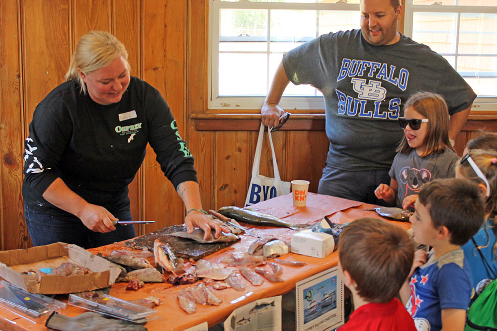 Captain Amanda Peterson's fish cleaning demonstration was a big hit at the Expo.