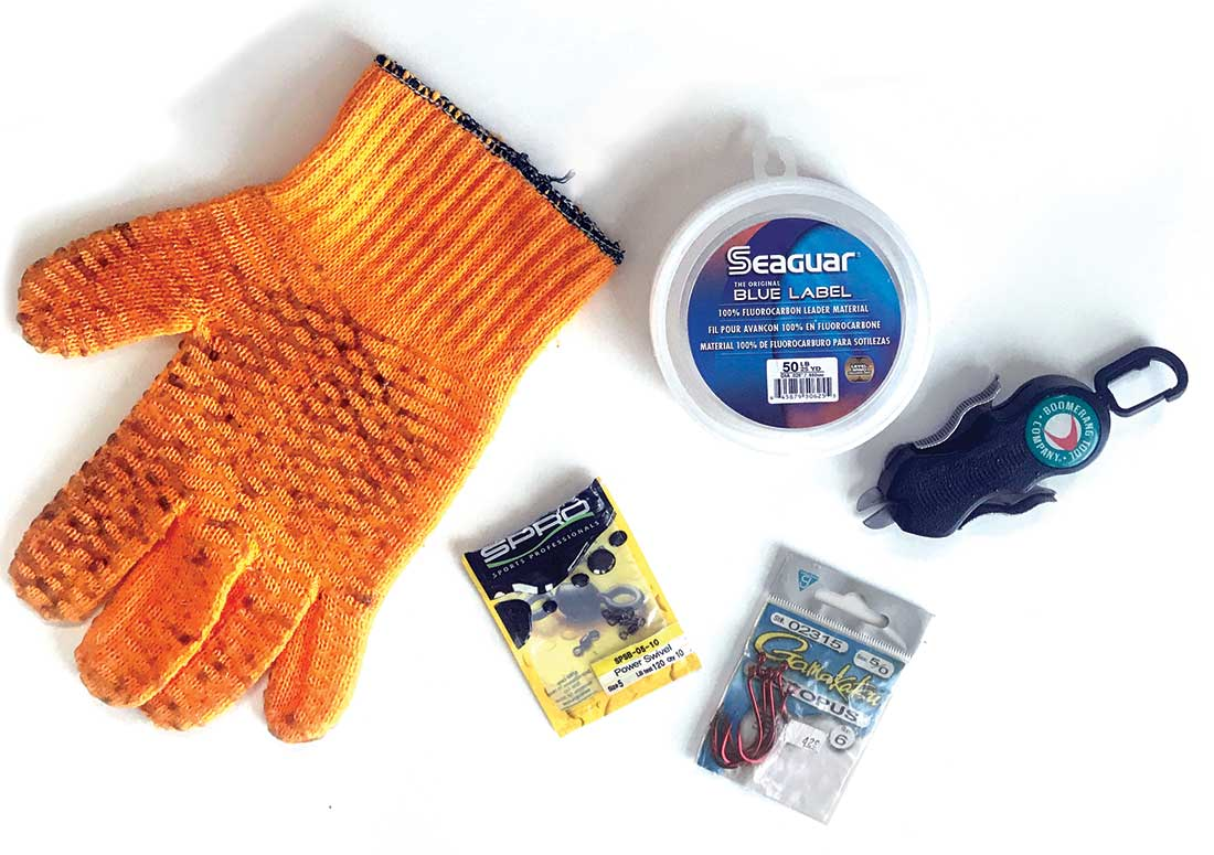 The author's rigging essentials for kayak eel trolling around rocky structure.