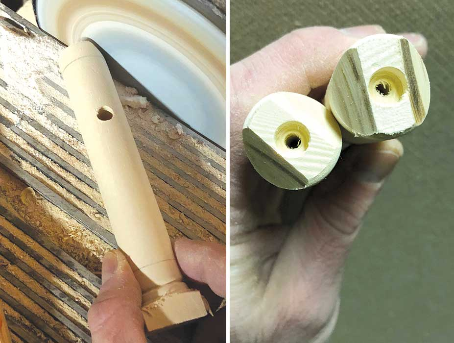 Chamfering the edges of the joints on a sander