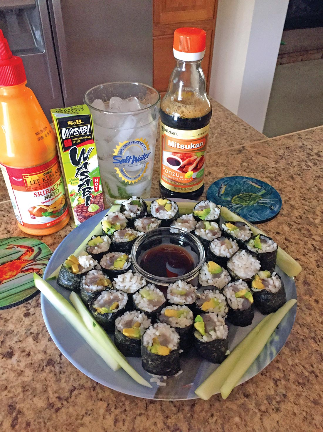One of the author's favorites – bluefish sushi.
