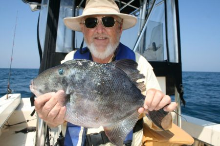 The author with a scrappy, fine-tasting triggerfish