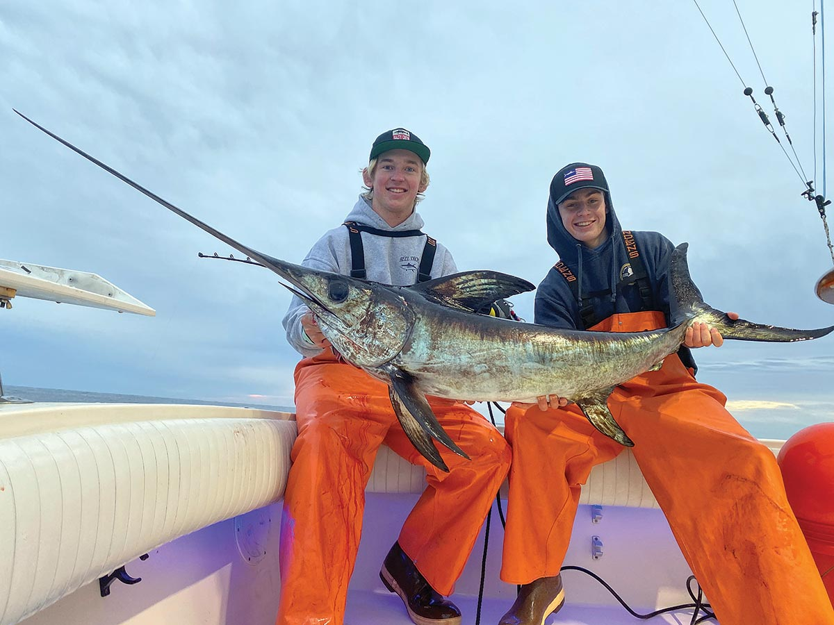 Young gun skipper Nick Perello (on right) out of Beach Haven, NJ with a daytime sword.