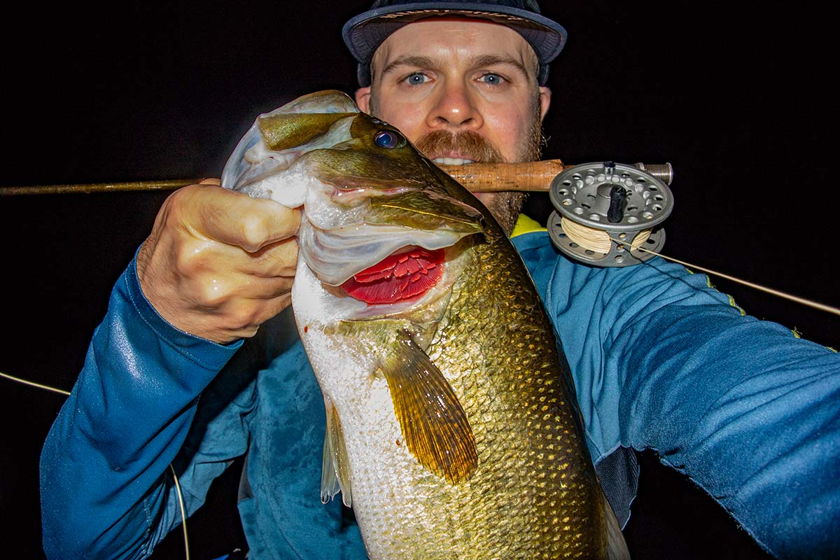 While heavier gear is recommended for night bassing