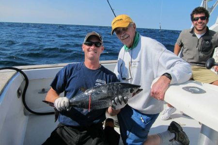 Captain Al Anderson with a school bluefin