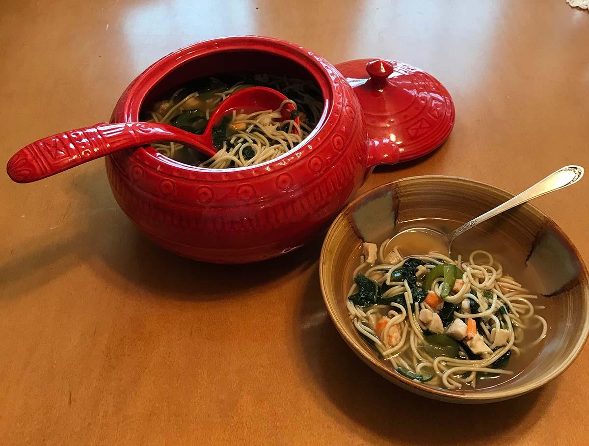 Fish Veg Soup DINNER TABLE