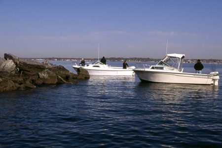 While it's uncommon to anchor stern to the seas, it's preferable to placing your prop in the rocks when fishing a breakwall.