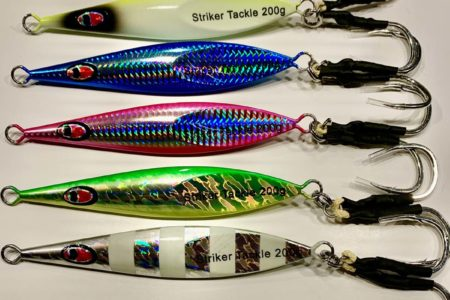 A selection of Striker Tackle slow pitch jigs.