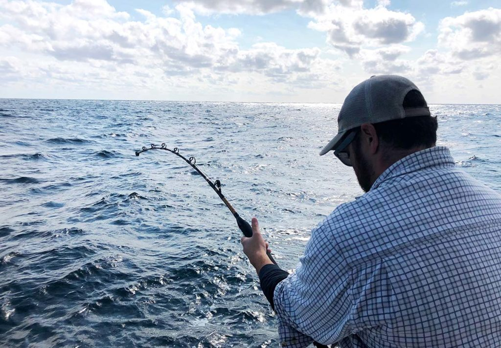The author's son, Marc, works over a 388-pound thresher on relatively lightweight gear and a small boat, the advantage kept in the angler's corner by proper boat control.